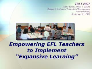 "Empowering EFL Teachers  to Implement  ""Expansive Learning"""