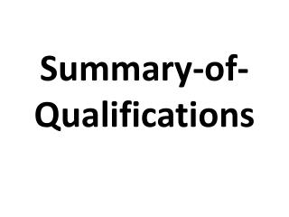 summary of-qualifications
