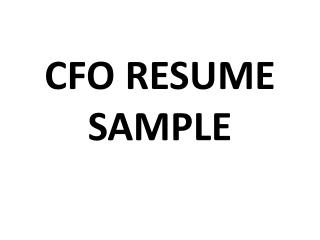 cfo resume sample