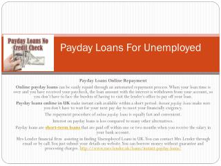 Payday Loans For Unemployed