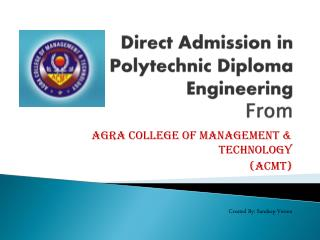 Direct Admission in Polytechnic Diploma Engineering