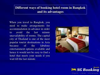 Different ways of booking hotel room in Bangkok and its adva