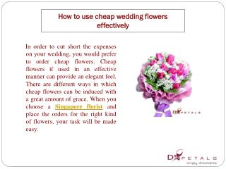 How to use cheap wedding flowers effectively