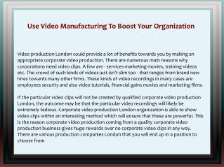 Use Video Manufacturing To Boost Your Organization