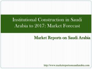 Institutional Construction in Saudi Arabia to 2017