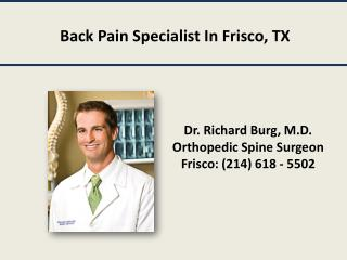 Back Pain Specialist In Frisco, TX