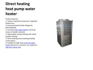 Informations of the Micoe's Heat pump