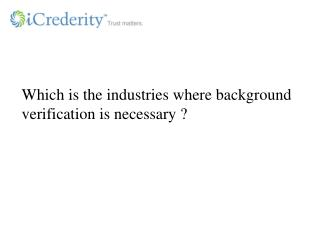 Background Verification For Industries