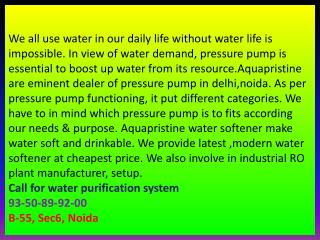 water softener delhi,noida,faridabad,gurgaon, pressure pump