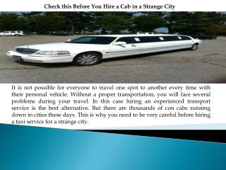 Check this Before You Hire a Cab in a Strange City