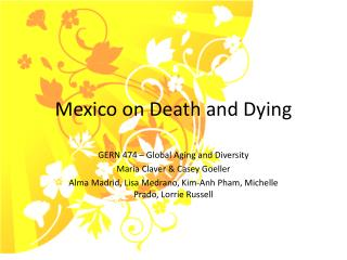 Mexico on Death and Dying
