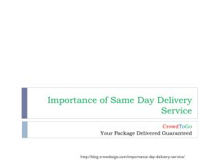 Importance of Same Day Delivery Service