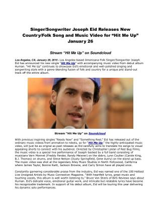 Singer/Songwriter Joseph Eid Releases New Country/Folk Song