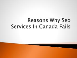 Reasons Why Seo Services In Canada Fails