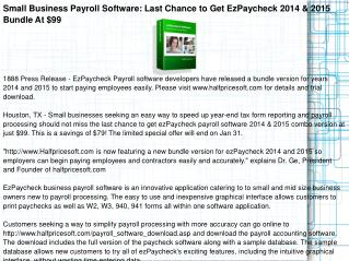 Small Business Payroll Software: Last Chance to Get EzPayche