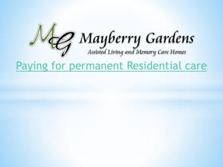 Paying for permanent Residential care