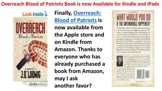 Overreach Blood of Patriots Book is now Available for Kindle