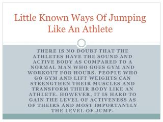 Little Known Ways Of Jumping Like An Athlete