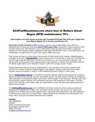 ECOFuelMaximizer.com share how to Reduce diesel Regen (DPR)