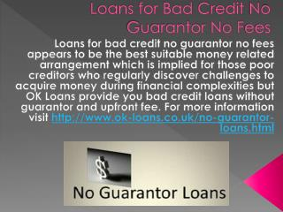 Loans for Bad Credit No Guarantor No Fees