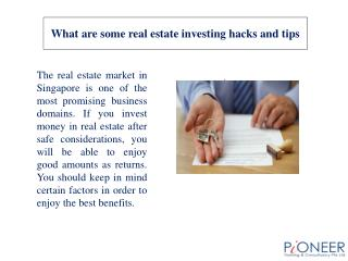 What are some real estate investing hacks and tips