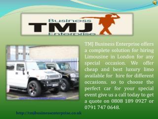 Luxury Car Hire For Prom Via TMJ Business Enterprise