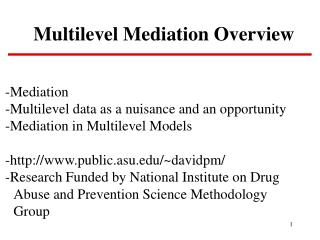 Multilevel Mediation Overview
