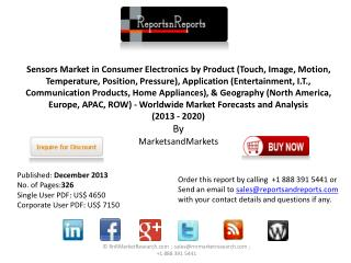 Global Consumer Electronics Sensors Market Forecast 2020 by