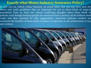 Exactly what Motor Industry Insurance Policy