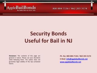 Security Bonds Useful for Bail in New Jersey