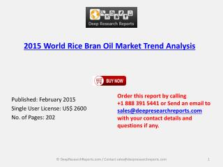 Global Rice Bran Oil 2015 Market Size, Trend, Research Repor