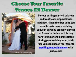 Choose Your Favorite Venues IN Denver