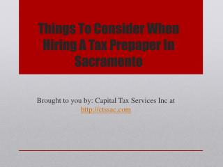 Things To Consider When Hiring A Tax Prepaper In Sacramento