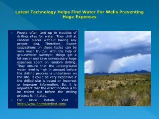 find water for wells
