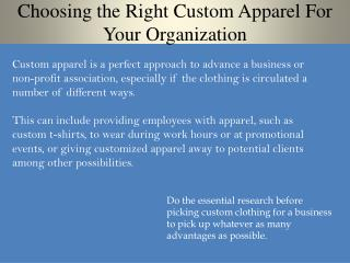 Choosing the Right Custom Apparel For Your Organization