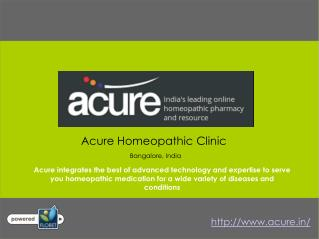Acure Homeopathy Clinic in Jayanagar Bangalore