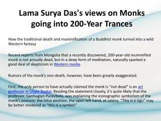 Lama Surya Das's views on Monks going into 200-Year Trances