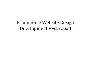 Ecommerce Website Design Development Hyderabad