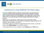 Guidelines for using NMDP