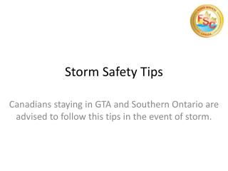 Storm Safety Tips Toronto