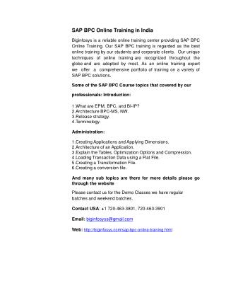 SAP BPC Online Training in India