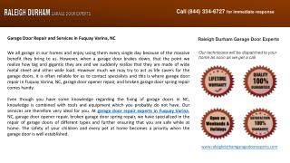 Garage Door Repair and Services in Fuquay Varina, NC