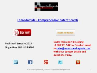 Worldwide Lenalidomide Market- Comprehensive Patent search