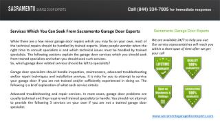 Services Which You Can Seek From Sacramento Garage Door