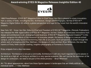 Award-winning EYES IN Magazine Releases Insightful Edition 4