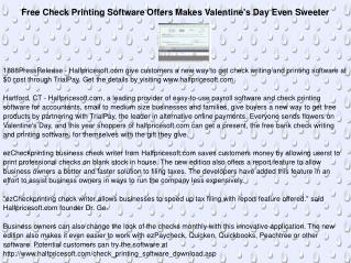 Free Check Printing Software Offers Makes Valentine's Day
