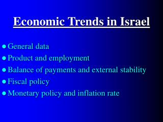 Economic Trends in Israel