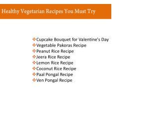 Healthy Vegetarian Recipes and Menus