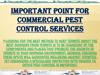 Important Point For Commercial Pest Control Services