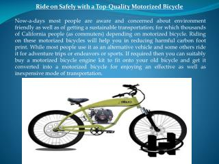 Ride on Safely with a Top-Quality Motorized Bicycle